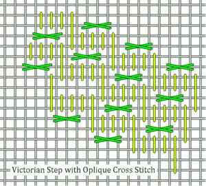 Victorian Step with Cross Stitch