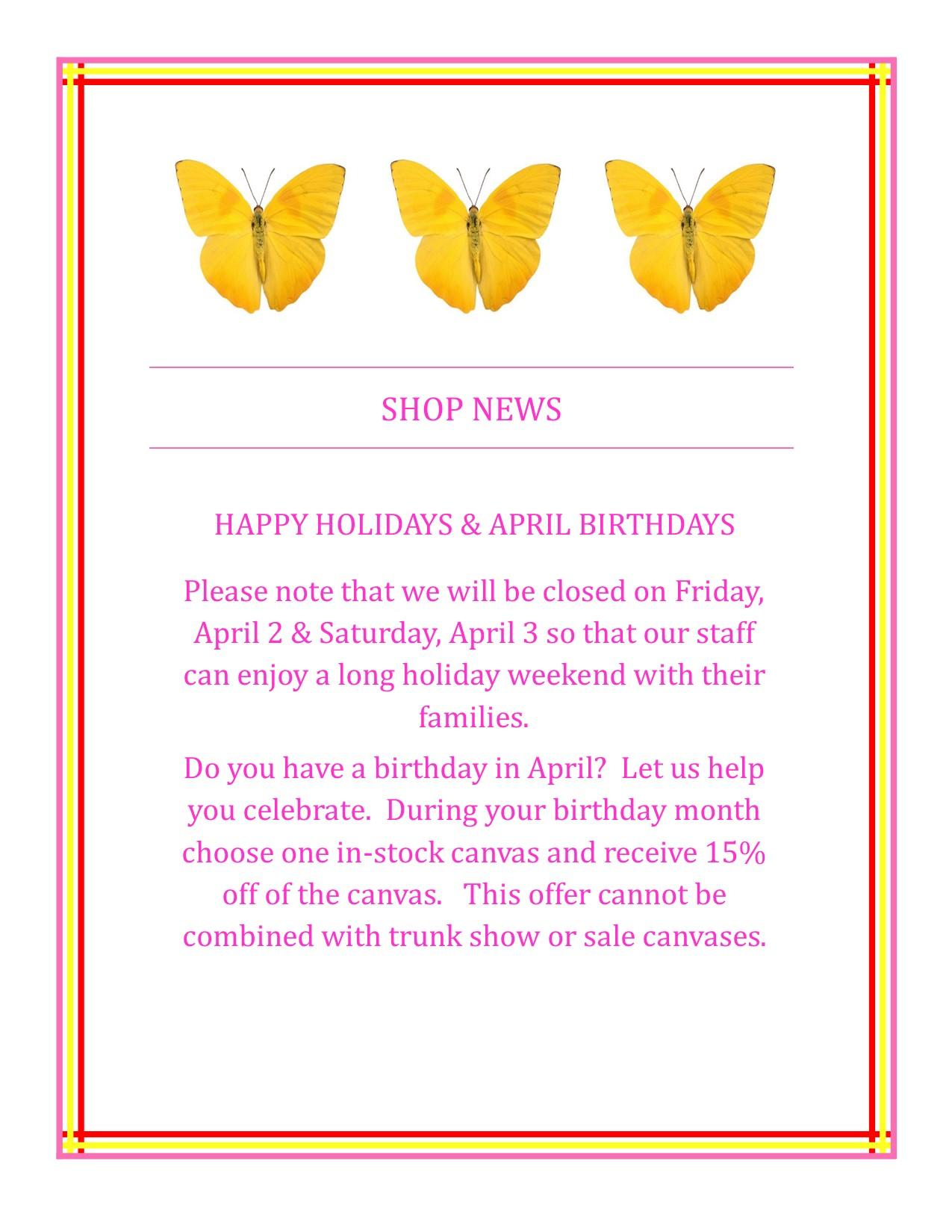 Shop Closed & Birthday – PM post