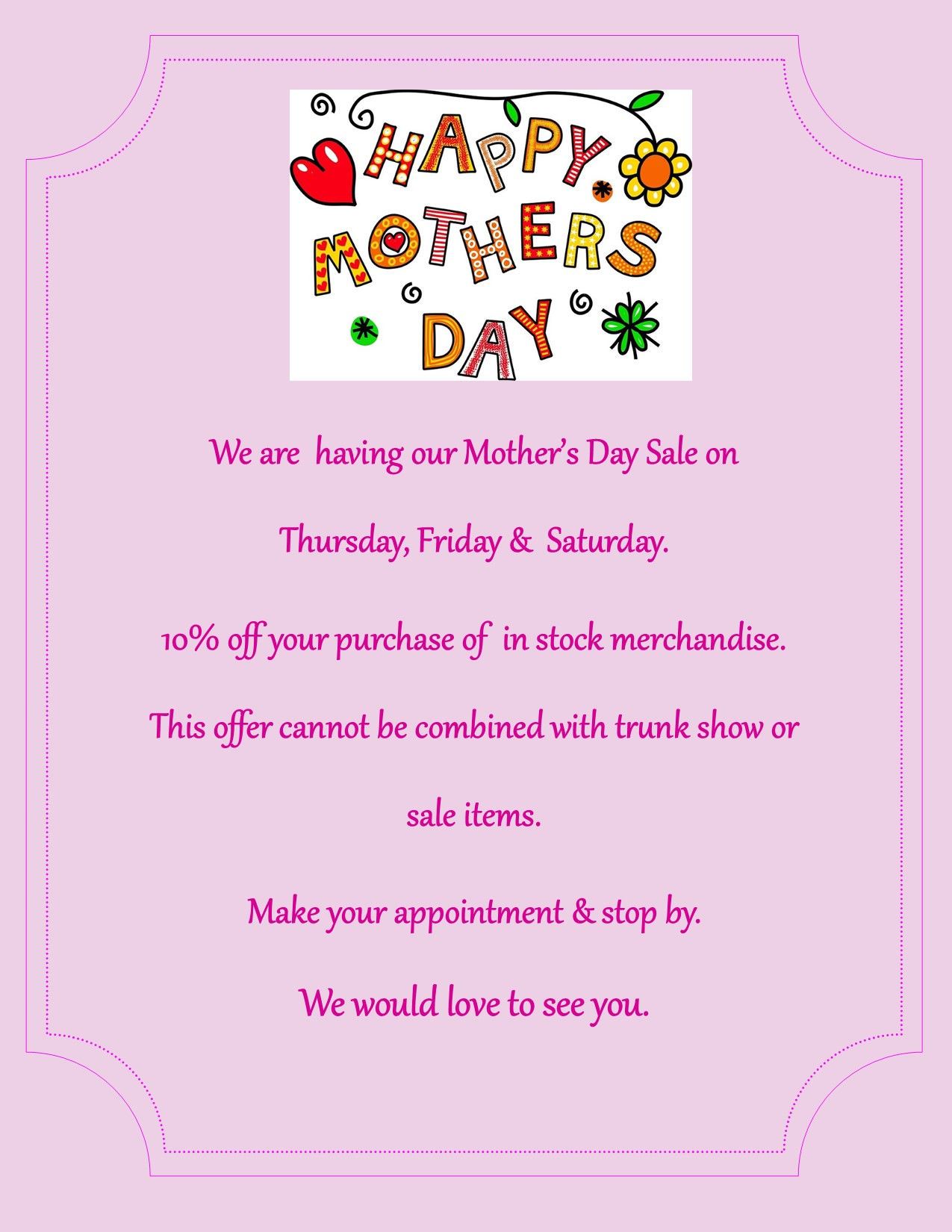 Mother's Day – 5-5 PM Post