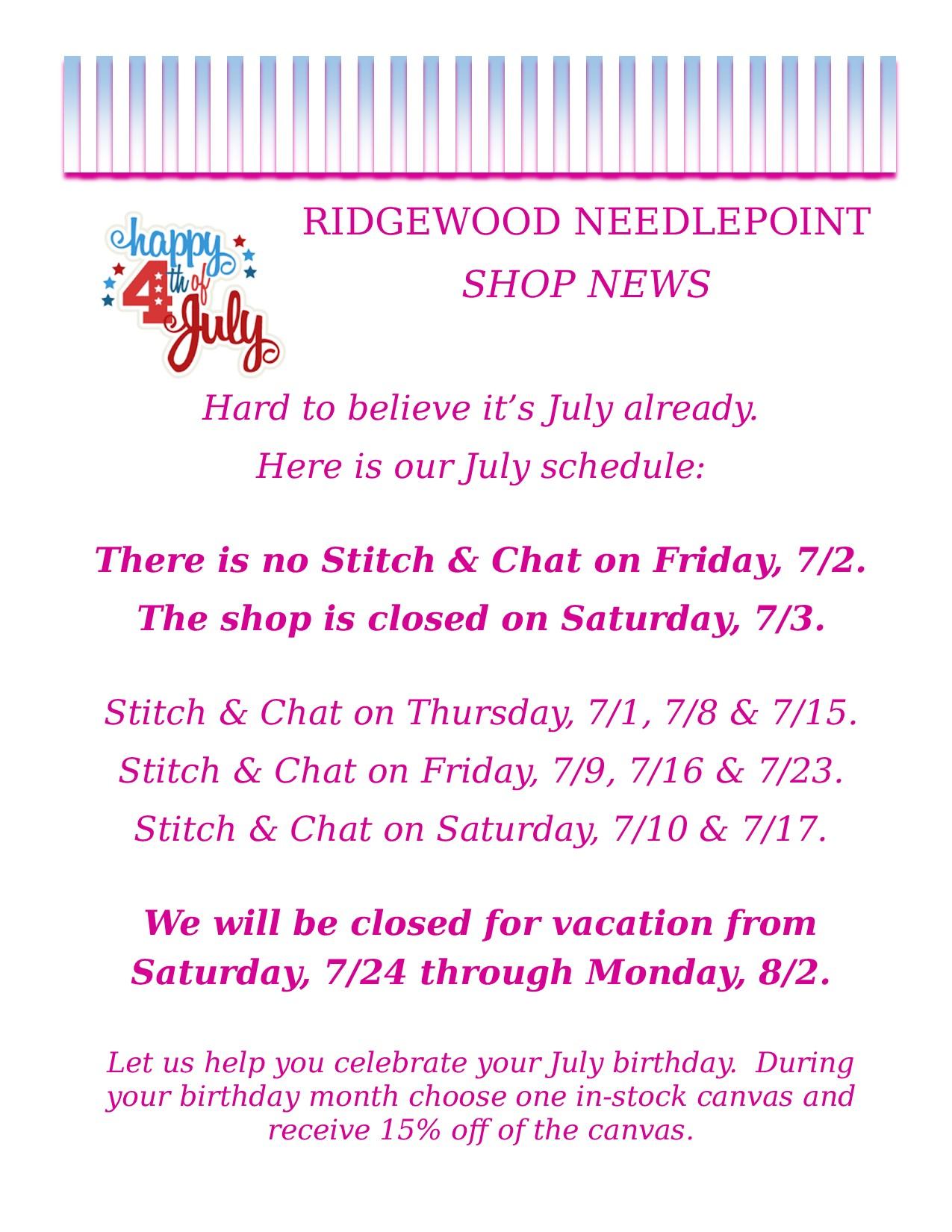 Shop News 7-1-21