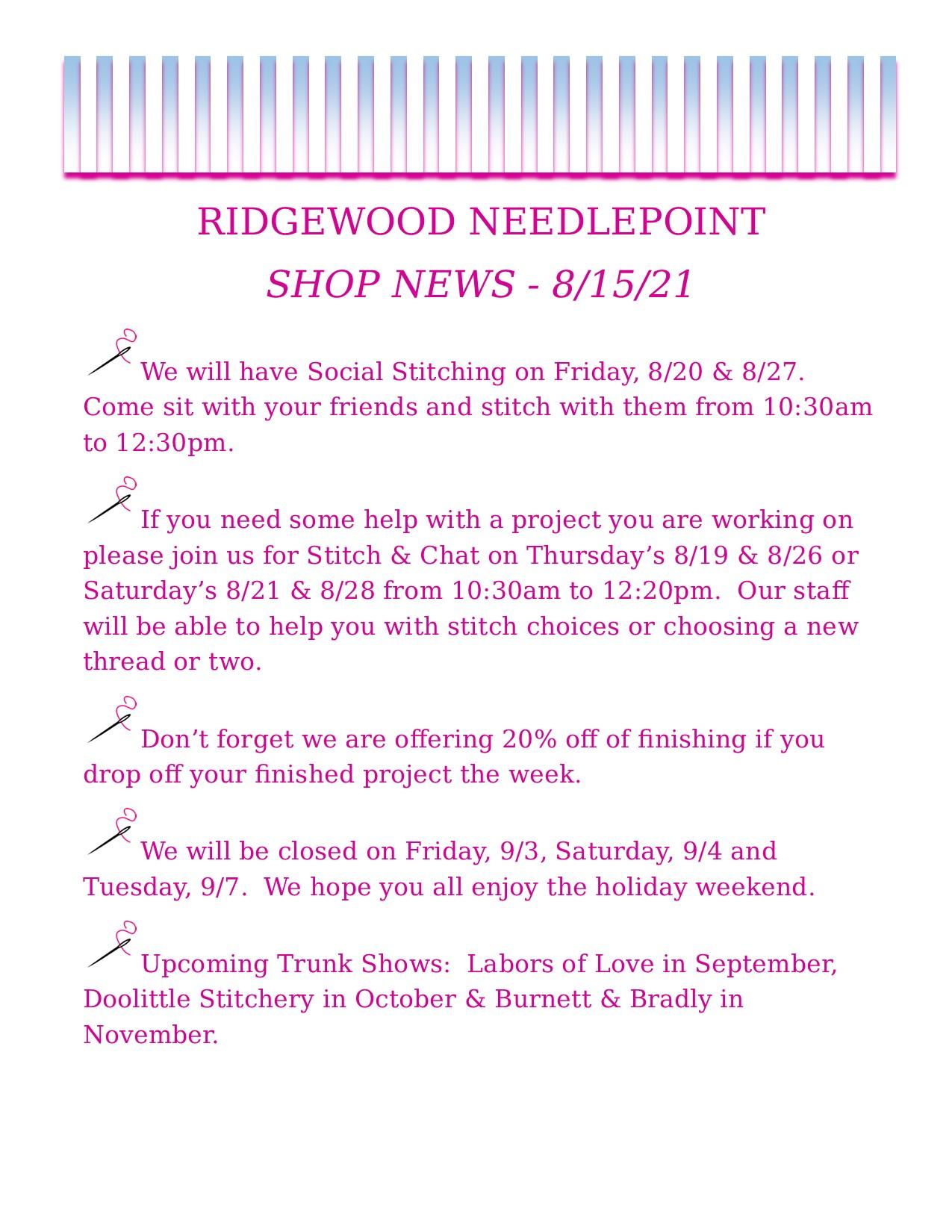 Shop News 8-15-21