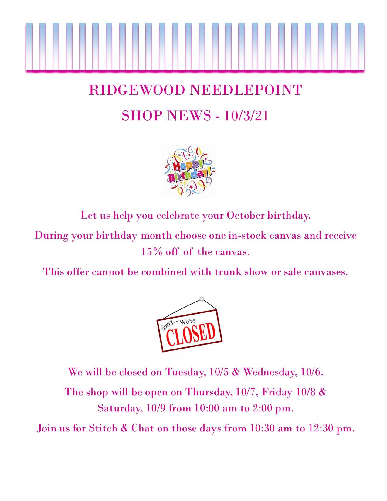Shop News 10-3-21