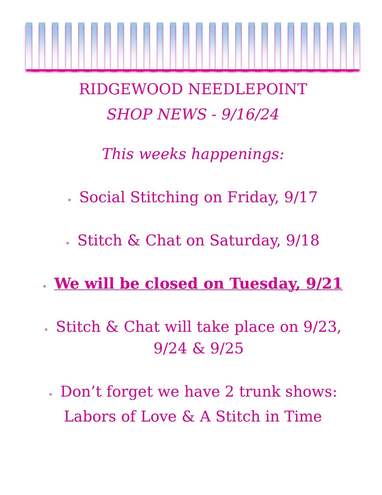 Shop News – 9-16-21 PM Post