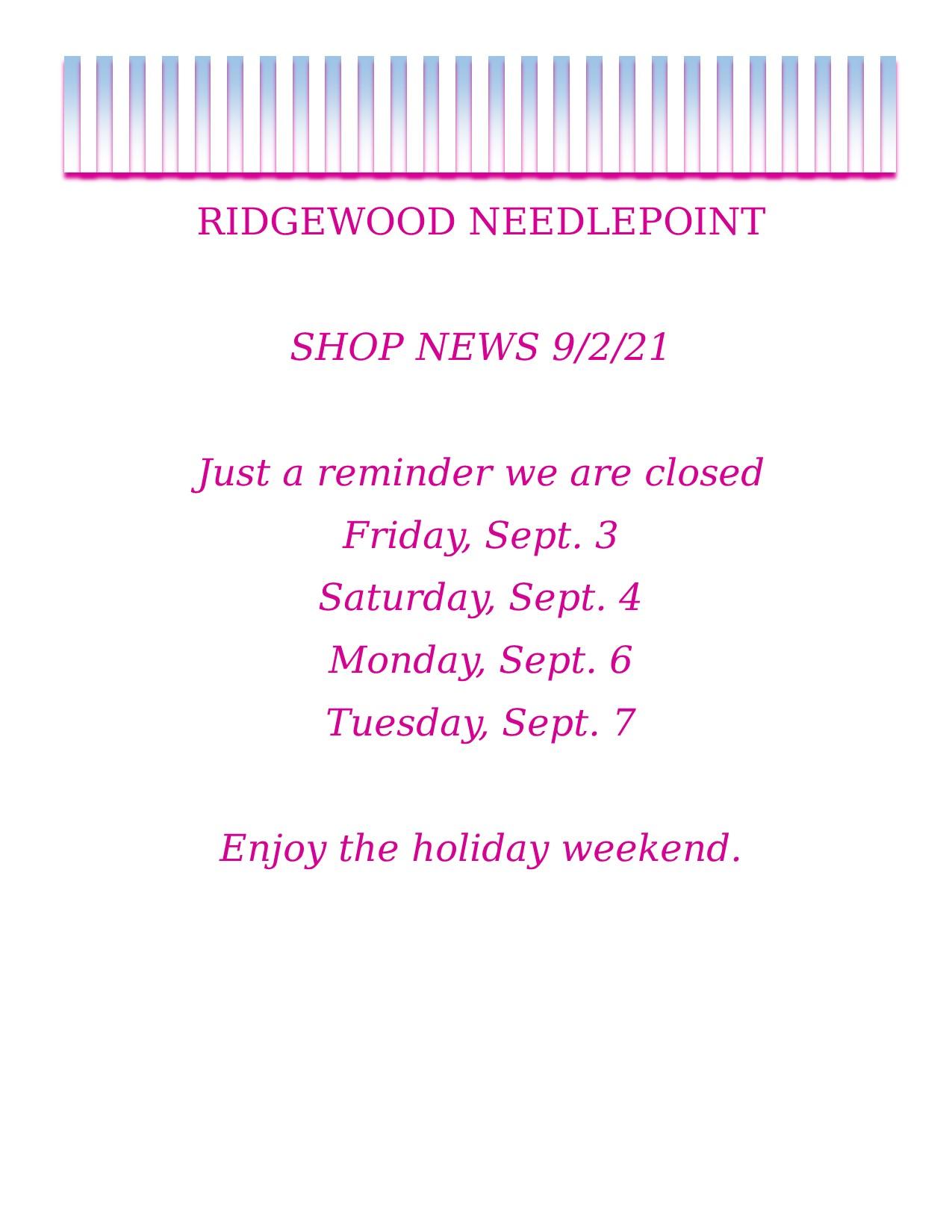 Shop News – 9-2-21